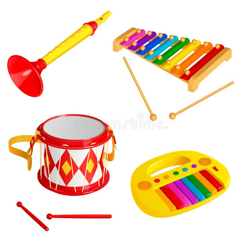 Set of children`s toy musical instruments, isolated on white background stock illustration