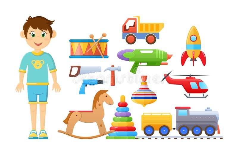 Set of children`s toys for boy. Colorful kid`s games. Set of childrens baby toys for boy. Developing logic games, exciting sports toys, musical, construction vector illustration