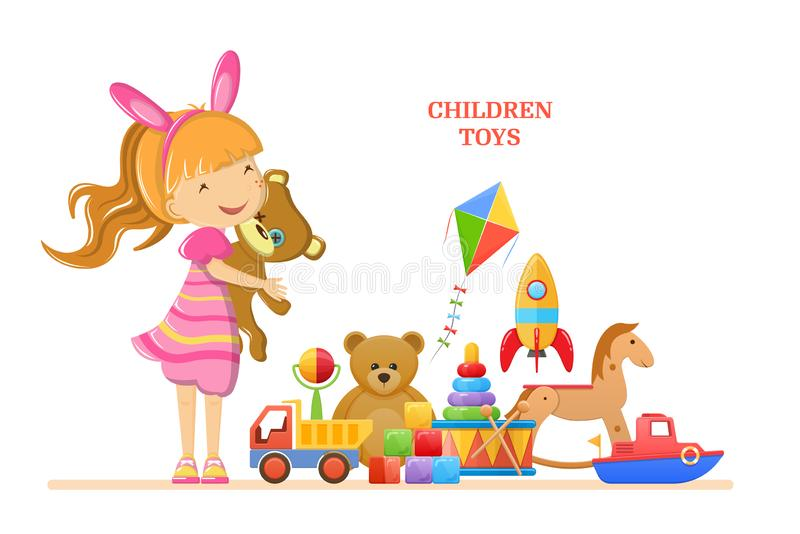 Set of children`s toys for girl. Colorful kid`s games. Set of childrens baby toys for girl. Developing logic games, musical tools, transport, machinery, animals vector illustration