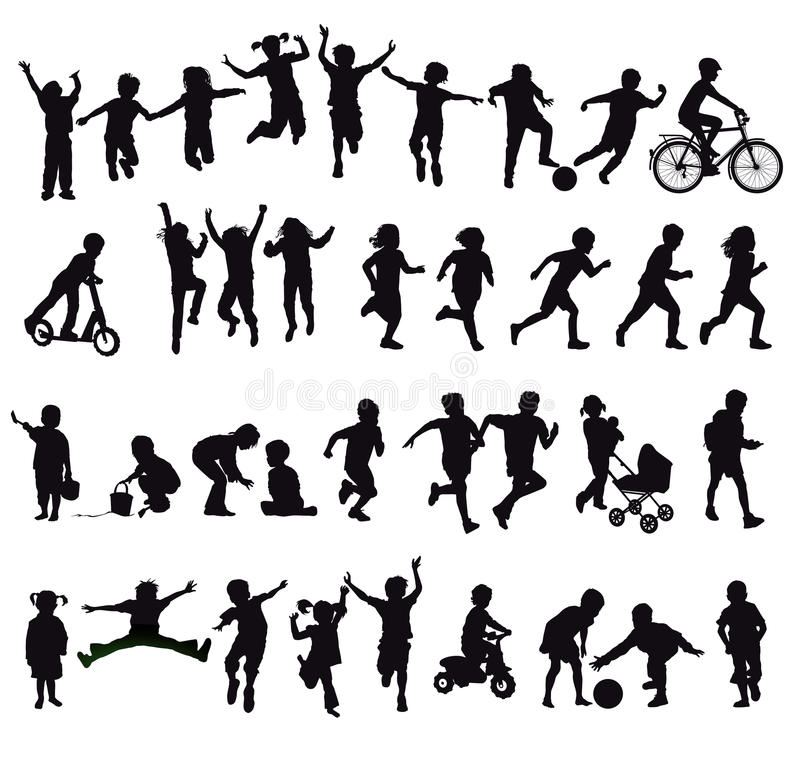 Set of children silhouettes vector illustration