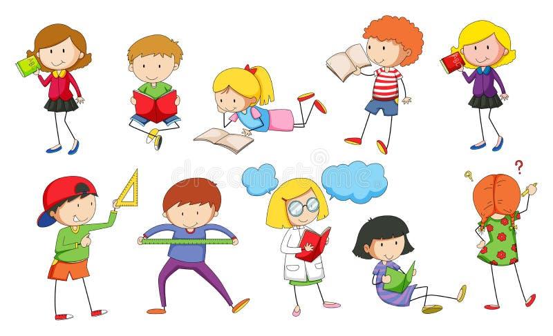 Set of children studying royalty free illustration