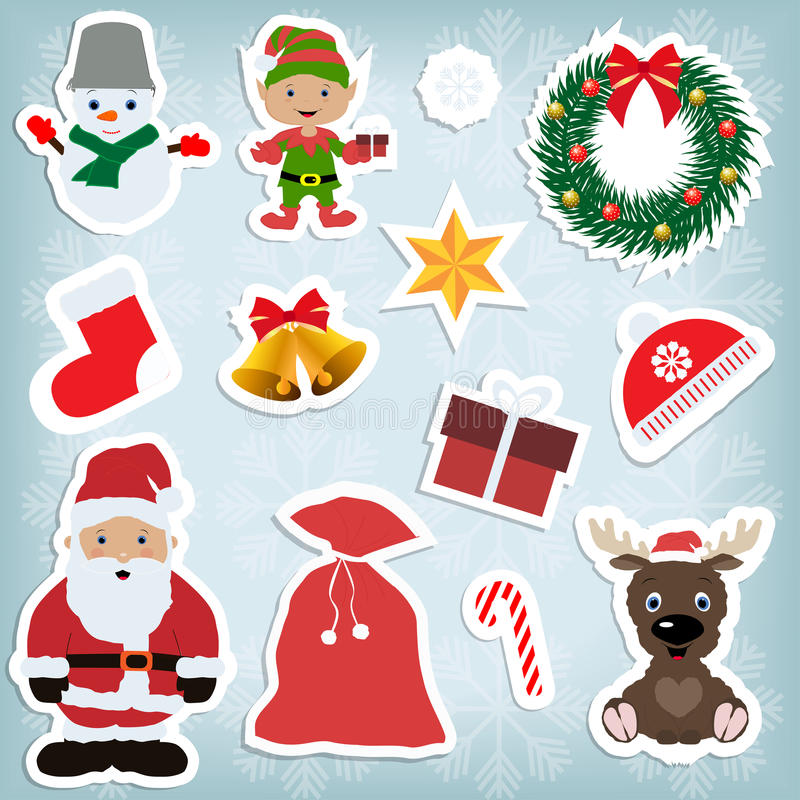 Set childrens Christmas stickers stock photos