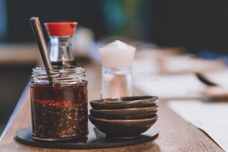 Set of chilli oil, soy sauce and rice vinegar for ramen stock photography