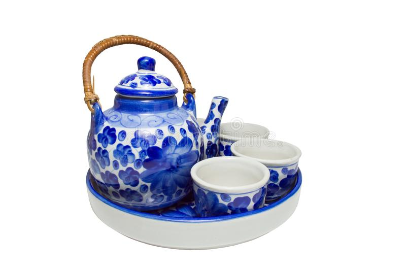 Set of chinese blue white ceramic tea pottery isolated. On white blackground with clipping path stock photo
