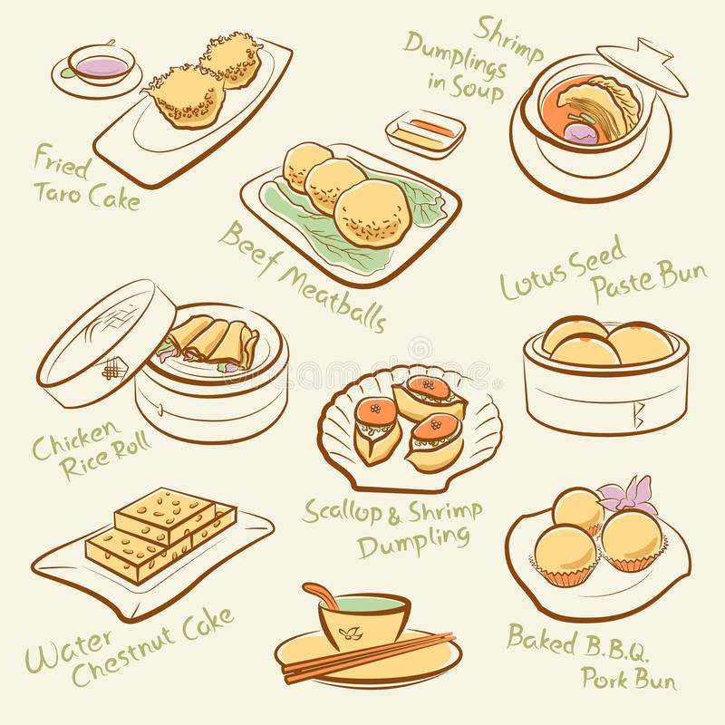 Line Drawing Food : Set of chinese food stock vector illustration asian