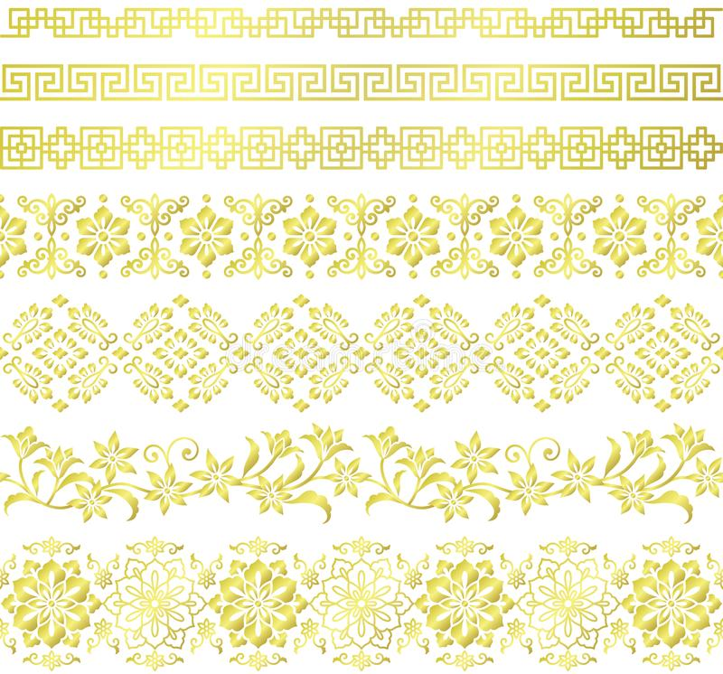 Set Of Chinese Style Borders. Stock Vector - Illustration of antique ...