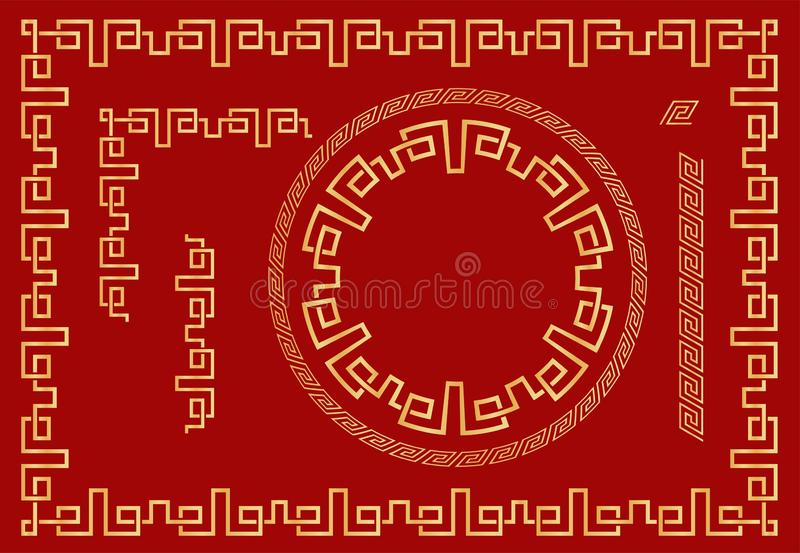 Set Chinese traditional ornaments. Frames, round frames and seamless elements. Vector vector illustration