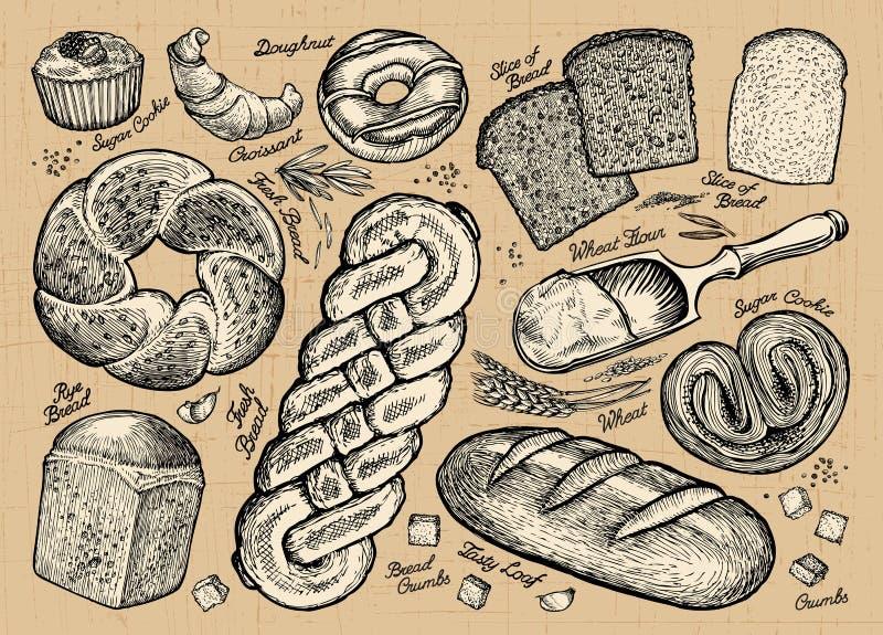 Set chleb, piekarnia produkty również zwrócić corel ilustracji wektora ilustracja wektor