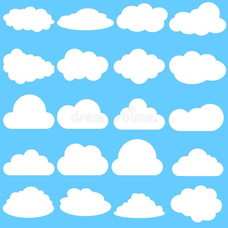 Set Chmurnieje ikonę, wektorowy ilustracyjny symbol ilustracja wektor