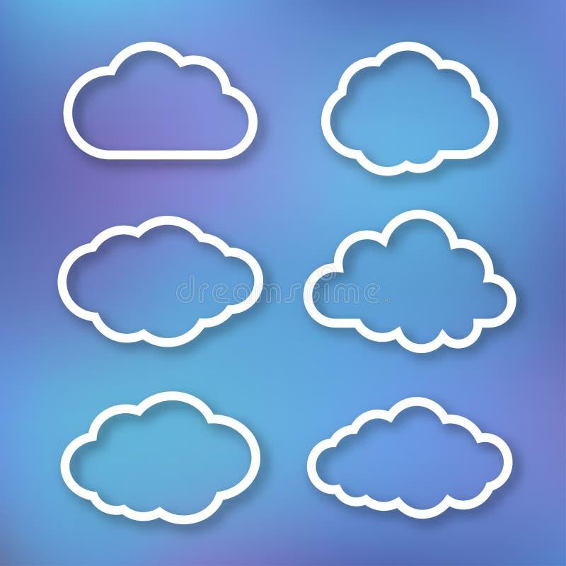 Set chmury, liniowe ilustracje royalty ilustracja