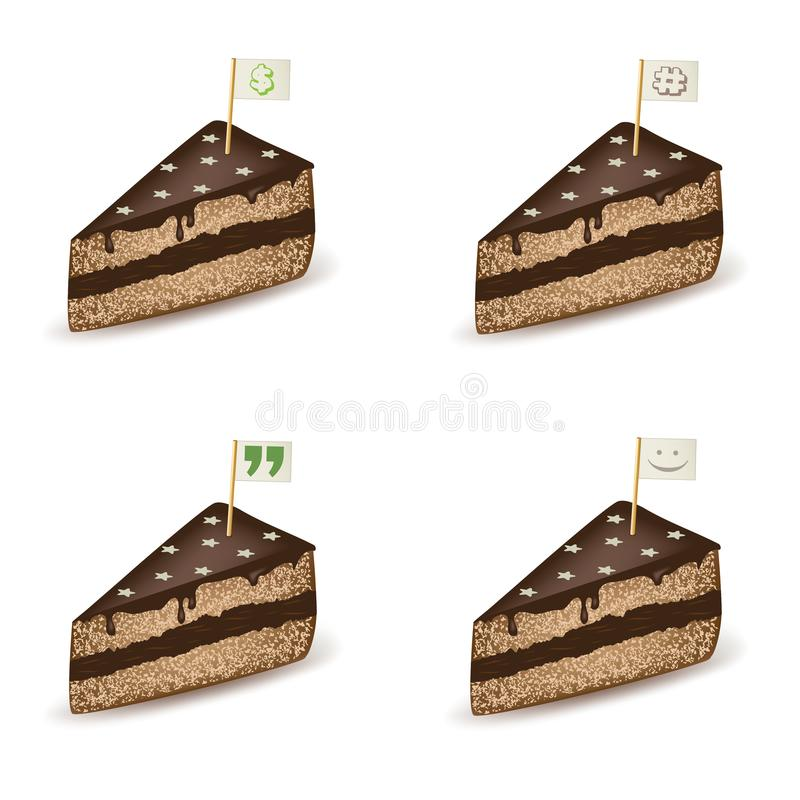 Chocolate Cake Flag Set. Set of chocolate cake pieces with tiny flags showing different signs vector illustration