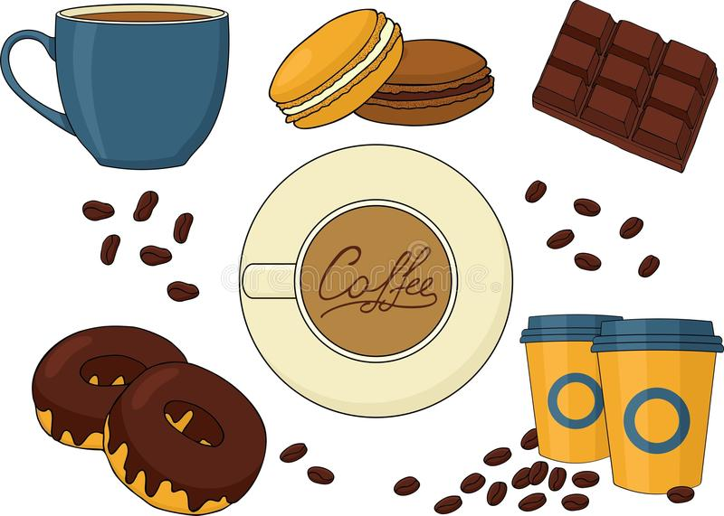 Set of chocolate desserts and coffee drinks. royalty free illustration