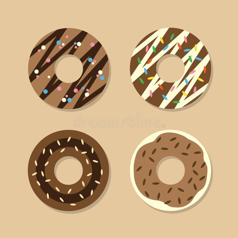 Download Set Of Chocolate Donuts stock vector. Illustration of fried - 39507591