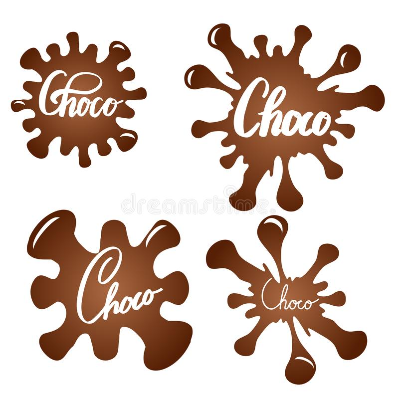 Set of chocolate splashes with brush calligraphy. Choco lettering. Honeyed inscription on sweet drops. Vector element. For logos, badges and your creativity vector illustration