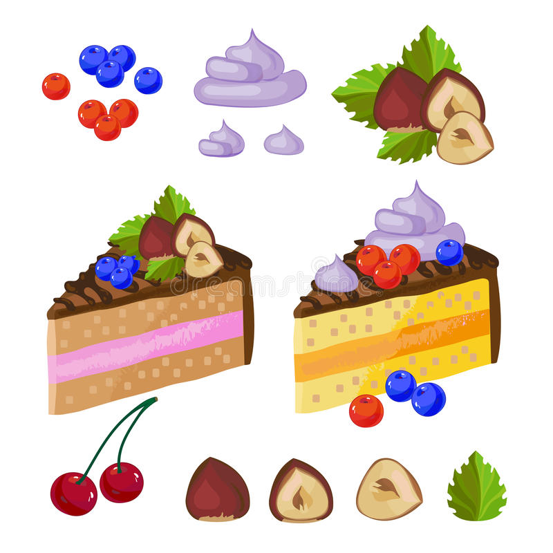 Set of chocolate sweets, cakes and other chocolate food vector illustration vector illustration
