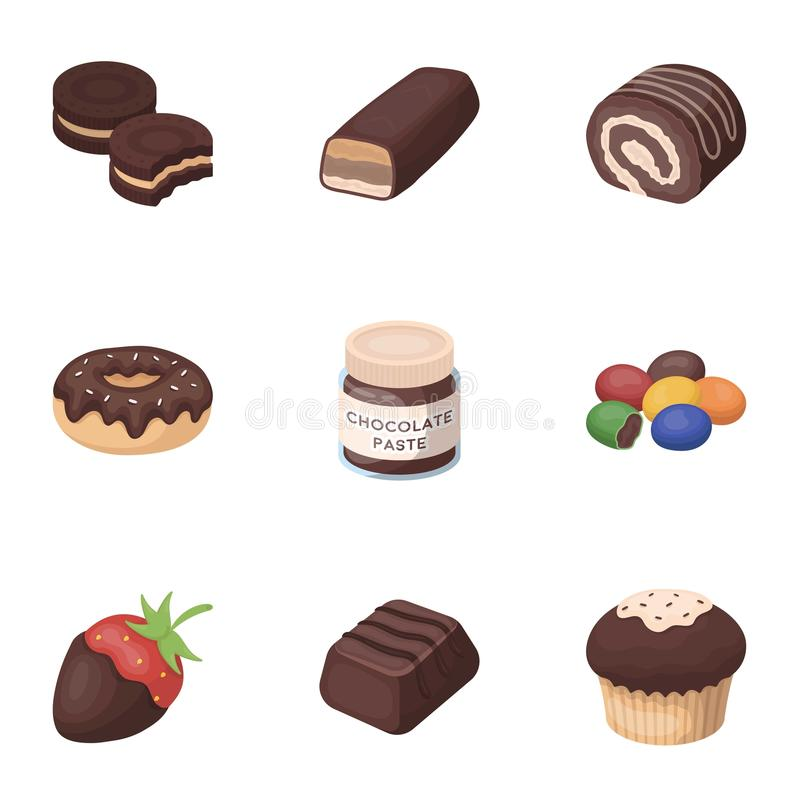 A set of chocolate sweets. Chocolate products for people. Chocolate desserts icon in set collection on cartoon style vector illustration