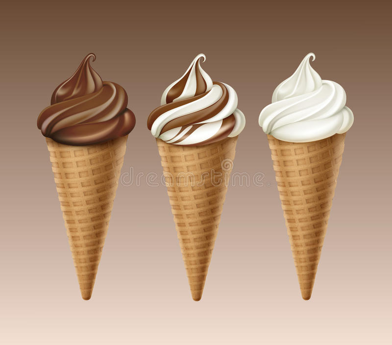 Set of Chocolate White Soft Serve Ice Cream Waffle Cone. Vector set of Brown Chocolate White Classic Soft Serve Ice Cream Waffle Cone Close up Isolated on stock illustration