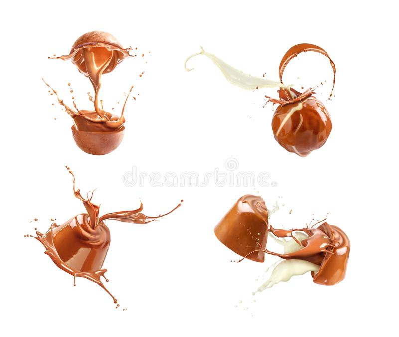 Set of chocolates, with chocolate and milk flow. Isolated on white background royalty free illustration