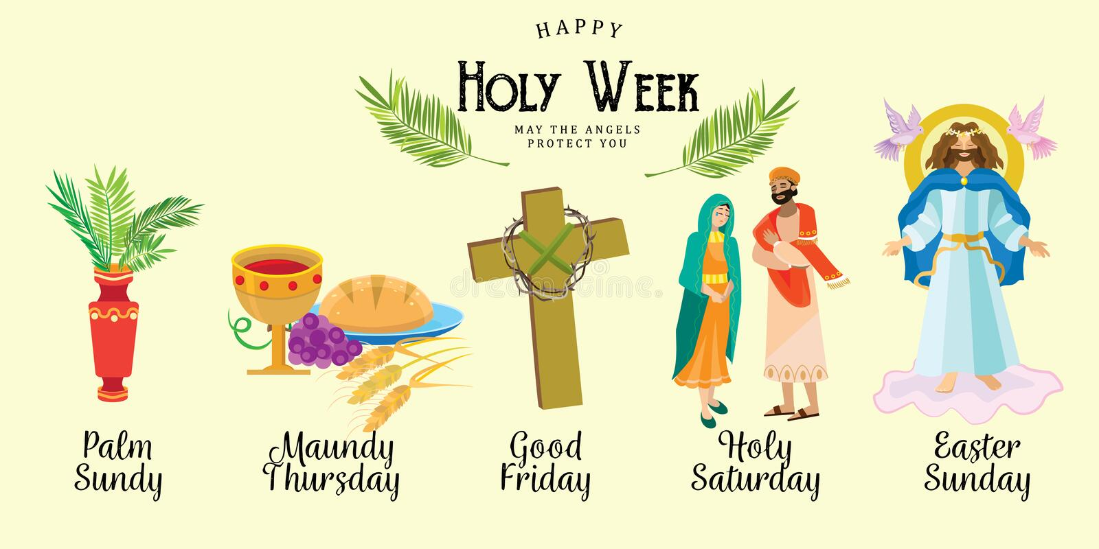 Set for Christianity holy week before easter, Lent and Palm or Passion Sunday, Good Friday crucifixion of Jesus and his. Death, Stations of Cross, God Passion vector illustration