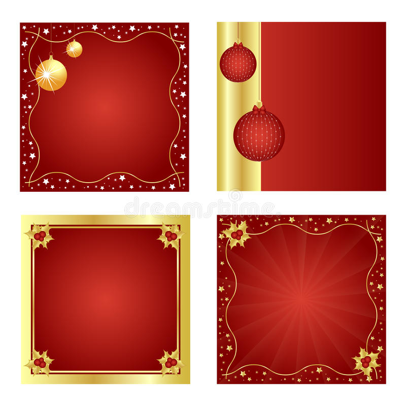 Set of Christmas backgrounds-red and golden royalty free illustration