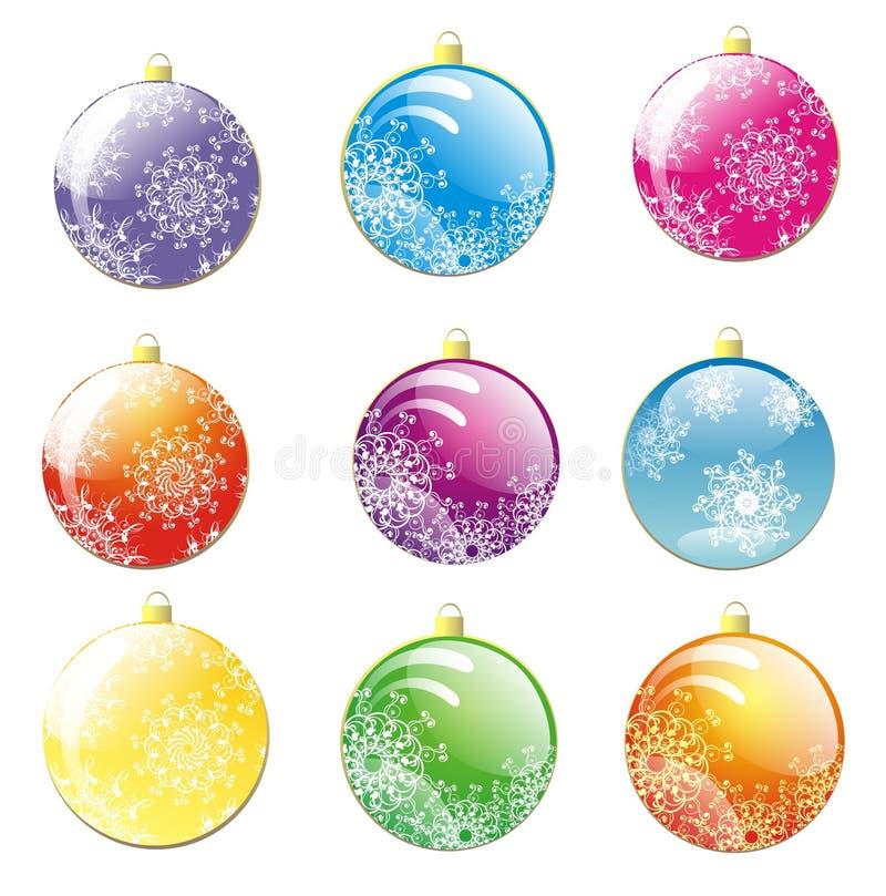 Set of Christmas balls stock photos