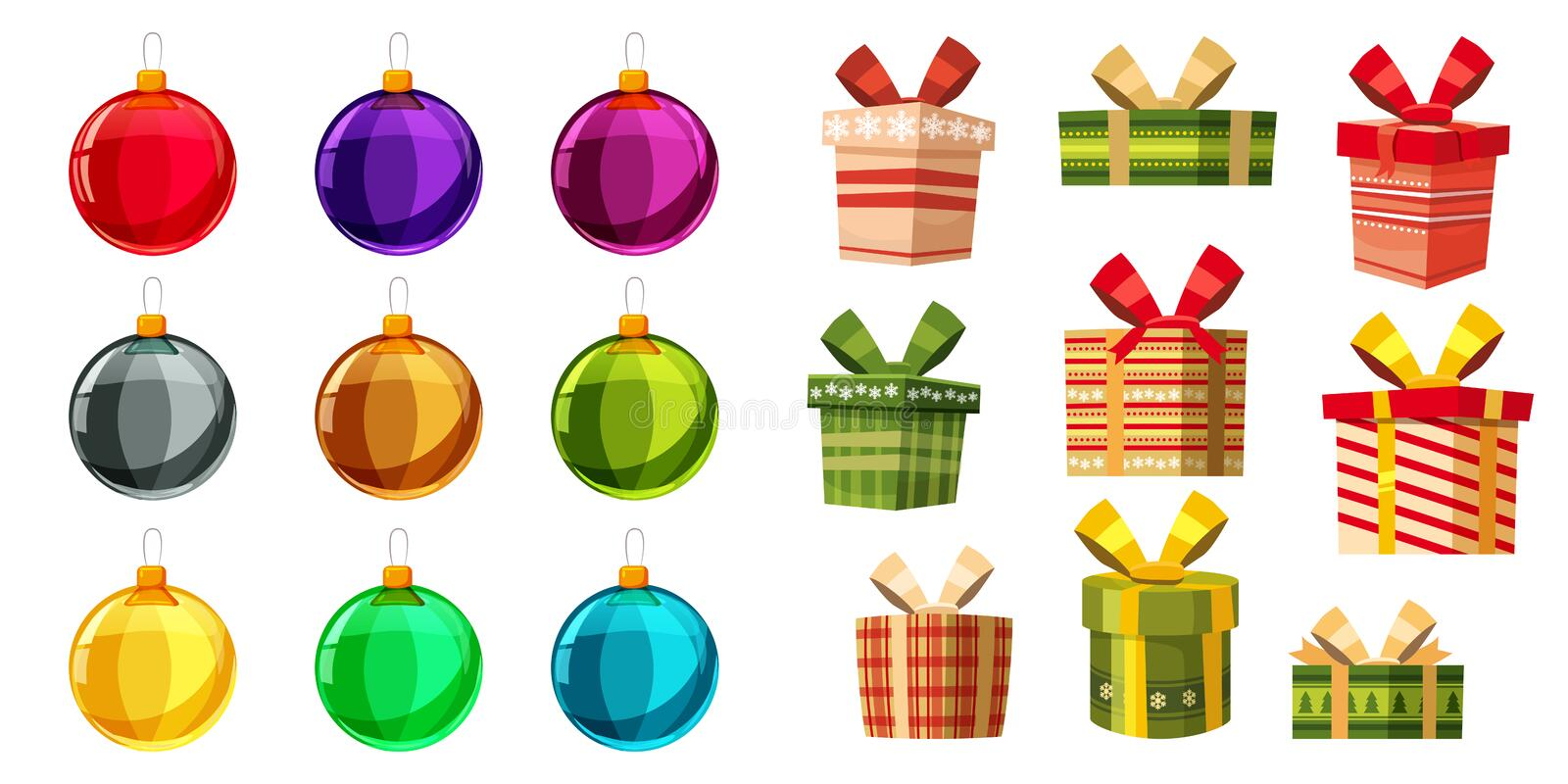 Set christmas balls and gift boxes different colours. Set of isolated cartoon style decorations. Vector illustration. Set christmas balls and gift boxes stock illustration