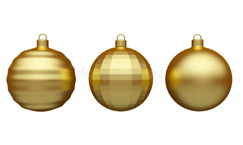 Set of Christmas balls Isolated on a white background. 3d rendering royalty free illustration
