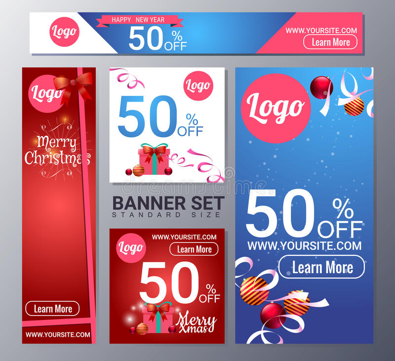 Set of christmas banner vector illustration royalty free illustration