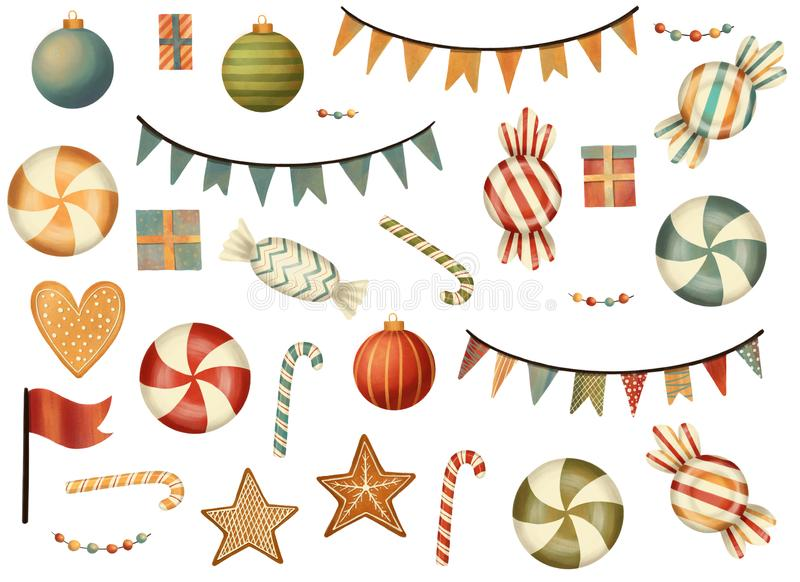 Set of christmas banners, candy, gingerbread, lollipop, balls, gifts. Set of christmas banners, candy gingerbread, lollipop balls, gifts. Hand drawn stock illustration