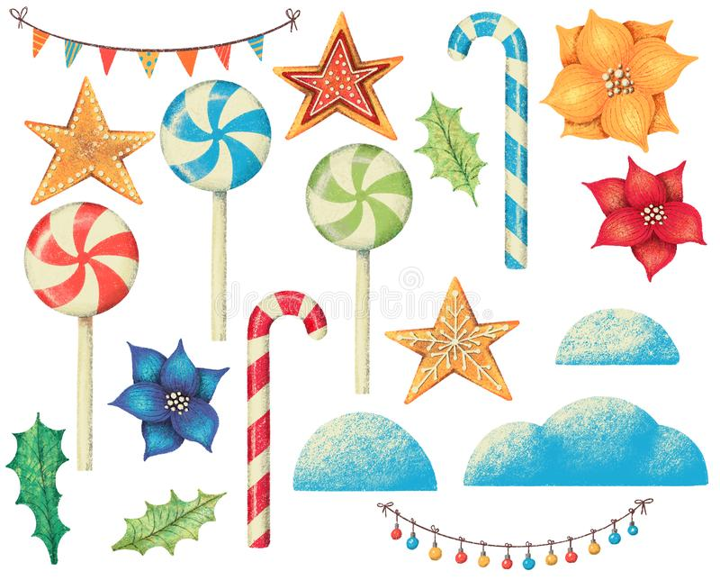 Set of christmas banners, lamps, candy, gingerbread, lollipop, poinsettia and snow. vector illustration