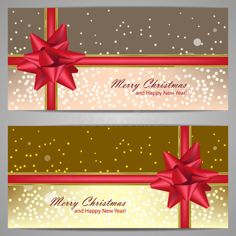 Download Set Of Christmas Banners With Sparks And Red Bow Royalty Free Stock Photos - Image: 33472598