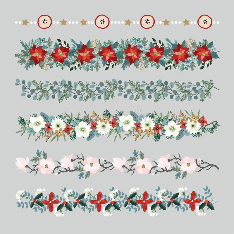 Set of Christmas borders, strings, garlands or brushes. Party decoration with fir and eucalyptus tree branches. Poinsettia, magnolia flowers, holly berries stock illustration