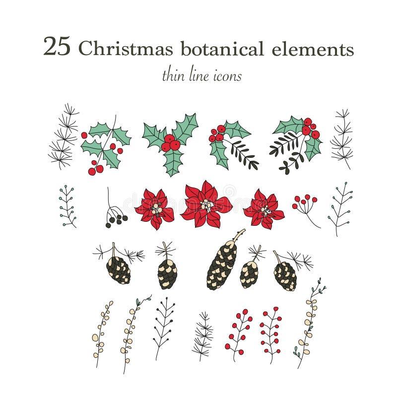 Set Of 25 Christmas Botanical Symbols Thin Line Vector Icons Xmas