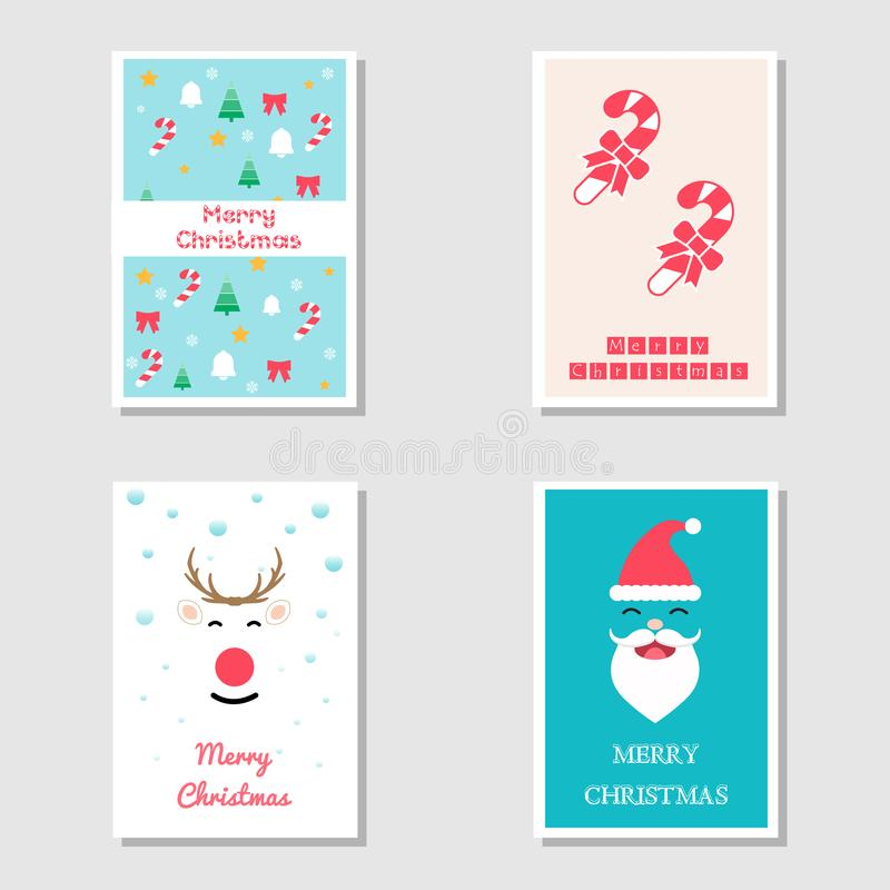 Set of Christmas Card and Invitation Card in Flat Design using Christmas tree, reindeer face, Santa clause and candy stick stock illustration