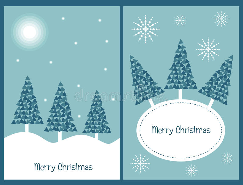 Set of Christmas cards. Set of two Christmas greeting cards in blue tone isolated on blue background.EPS file available