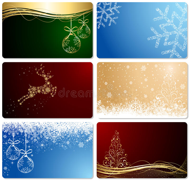 Set of Christmas cards vector illustration