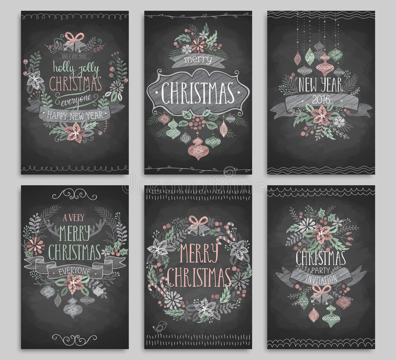 Set of Christmas cards - Chalkboard. royalty free illustration