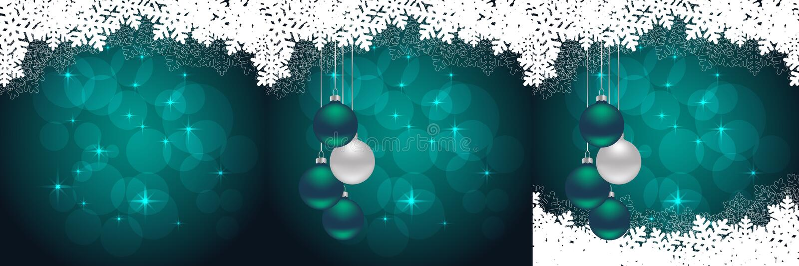 Set of christmas cards. Snowflakes backgrounds with hanging balls and snow. vector illustration stock illustration
