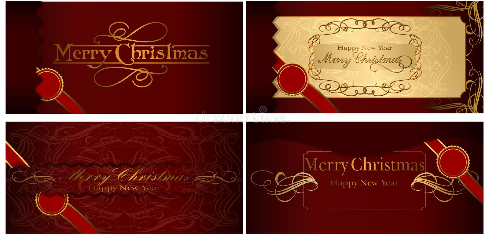 A set of Christmas cards. 08 (Vector) vector illustration