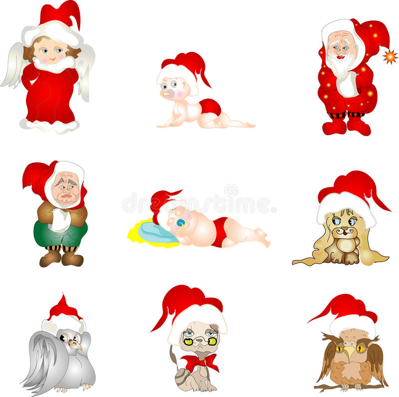Download Set Of Christmas Characters Stock Illustration - Illustration: 22018787