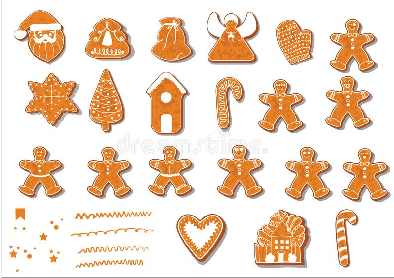 Set of Christmas cookies. Set of different gingerbread cookies for Christmas. Christmas gingerbread Christmas characters royalty free illustration