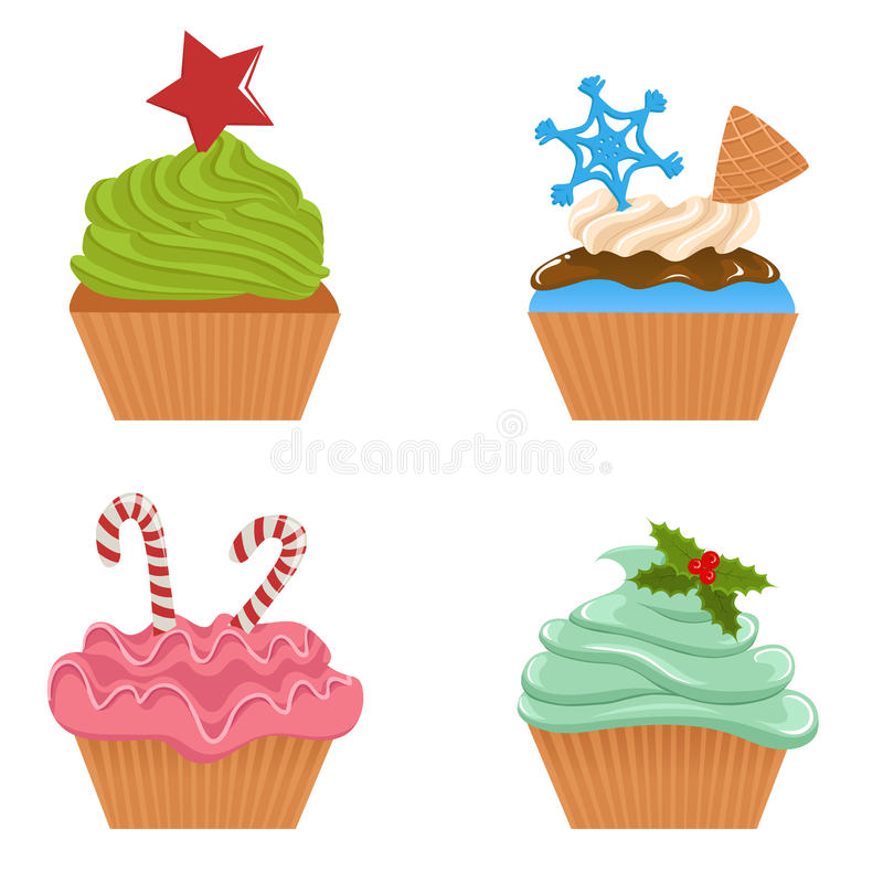 Set of Christmas cupcakes vector illustration