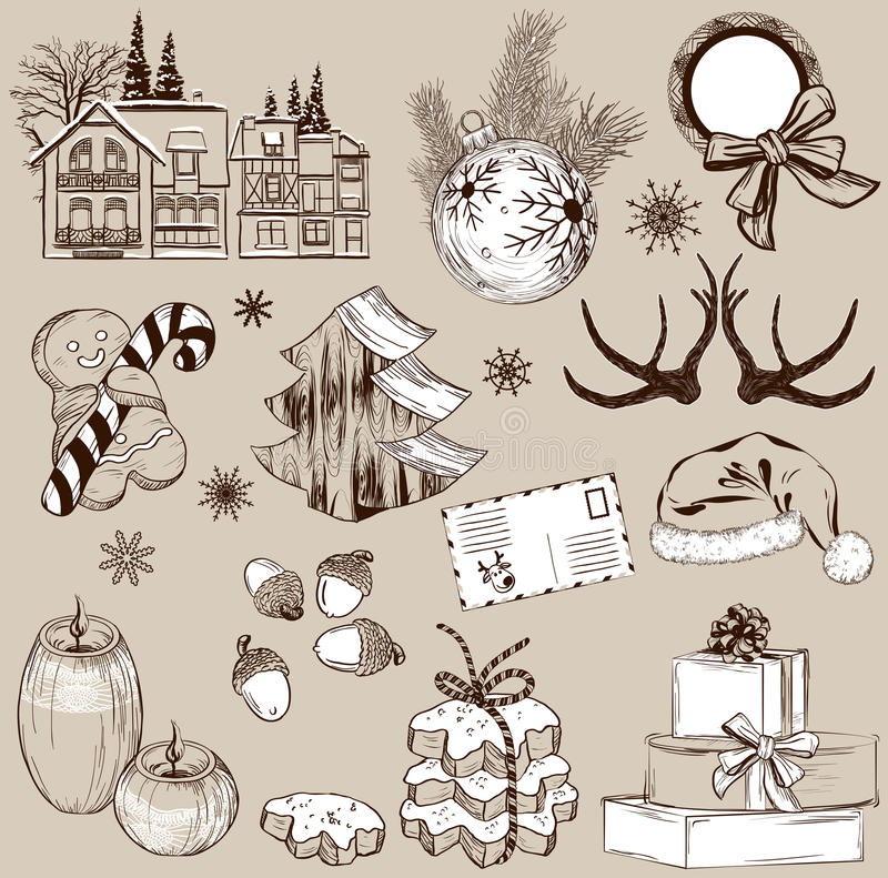 Set of Christmas decoration collection royalty free illustration