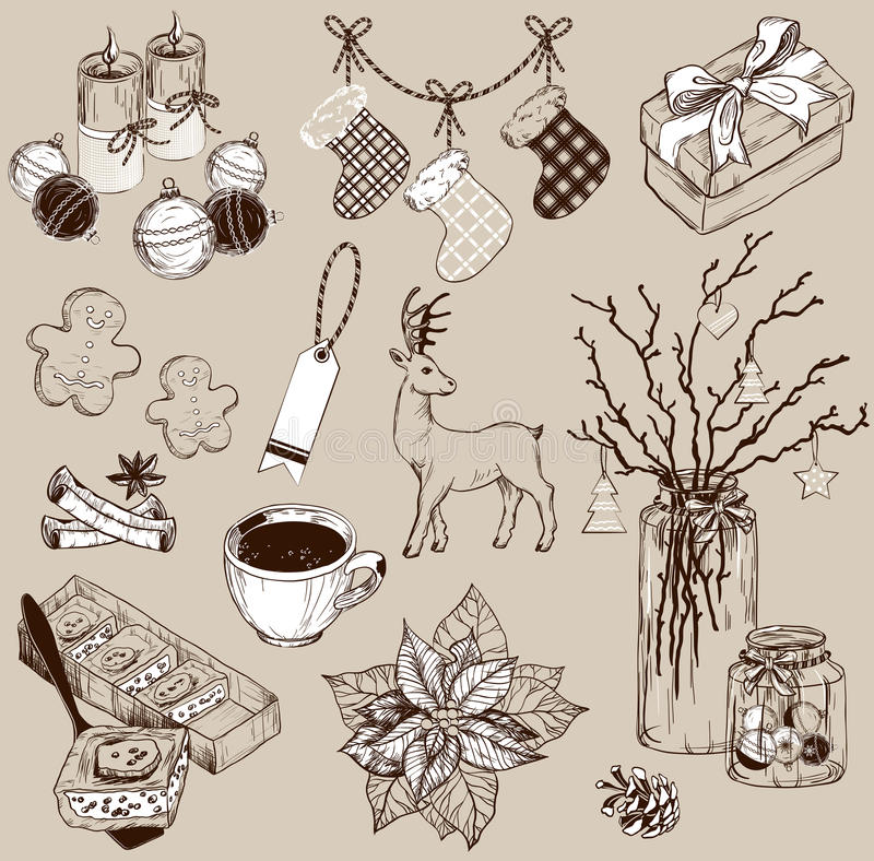 Set of Christmas decoration collection and design elements stock illustration