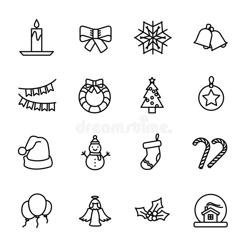Set Of Christmas Decoration Icons In Modern Thin Line Style Stock