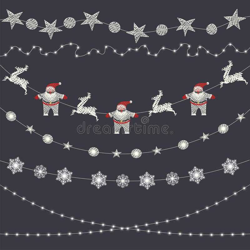 Set of Christmas decorations, garland, snowflakes, holiday appliques stock illustration