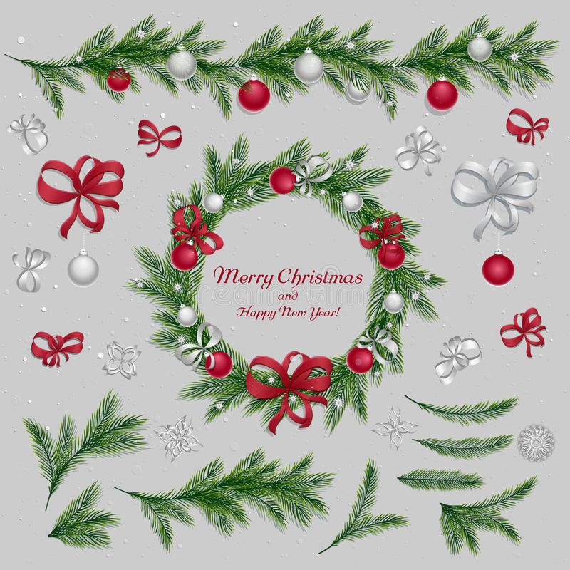 Set of christmas decorations. Red and silver colors vector illustration
