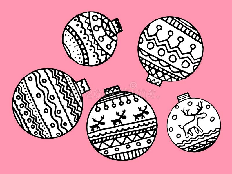 Set of Christmas decorative balls - colorings. Use for background, wrapping paper. And covers, fabrics, cards, stationery, invitations. Scandi decor. Vector stock illustration