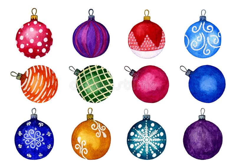 Set of Christmas decorative balls. Separate 12 elements on a white background. Watercolour hand illustration. Perfect for decorati. Ng greeting cards stock illustration