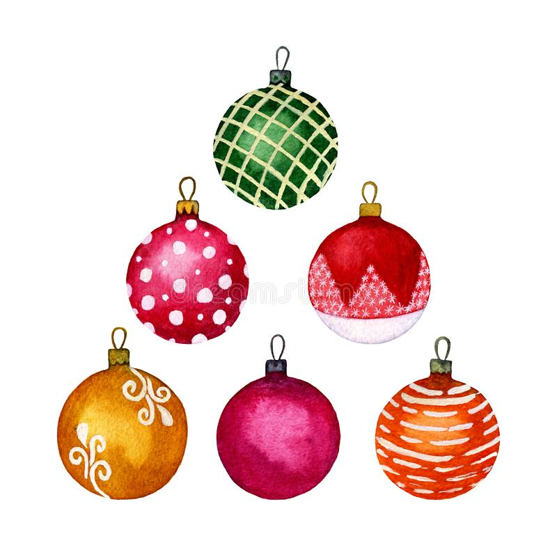 Set of Christmas decorative elements, multicolored balls. Separate elements on a white background. Watercolor hand illustration. stock photography